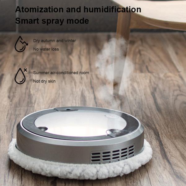【Wisdhome】robot Hút Bụi Quét Tự Động Thông Minh Phun Ẩm Máy Hút Bụi Thông Minh Đôi Làm Sạch