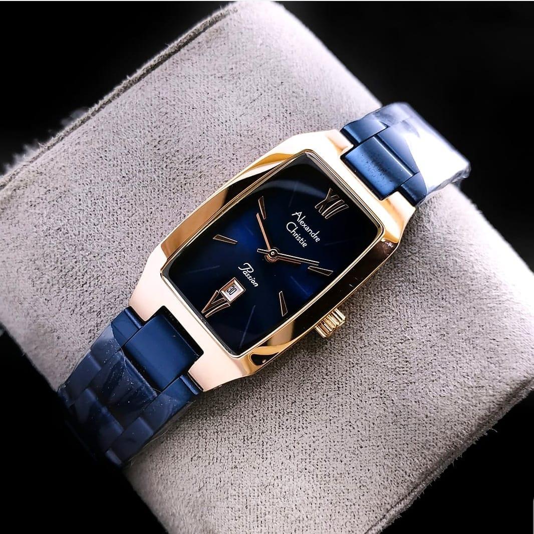 Alexandre Christie 100% Original AC2455-Jam Tangan Cewek-Biru Rosegold d1affa6e7d