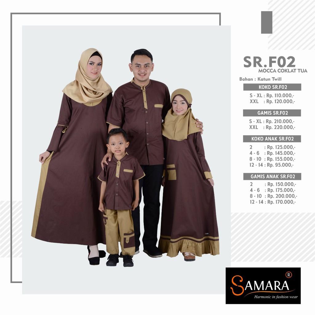 Baju Gamis Samara Couple Pasangan  Seragam Keluarga Family Muslim Modern Terbaru / F (Gamis Anak 8-10,Coklat)
