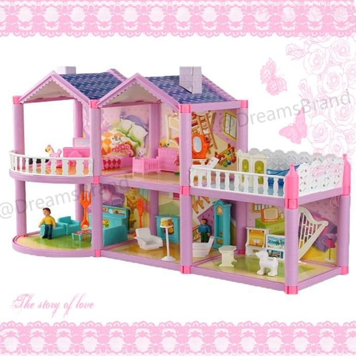 Flash Deal  READY STOCK Hadiah Gratis + Pink Girls Dream Villa Dekorasi  Rumah Boneka 9fc195b540