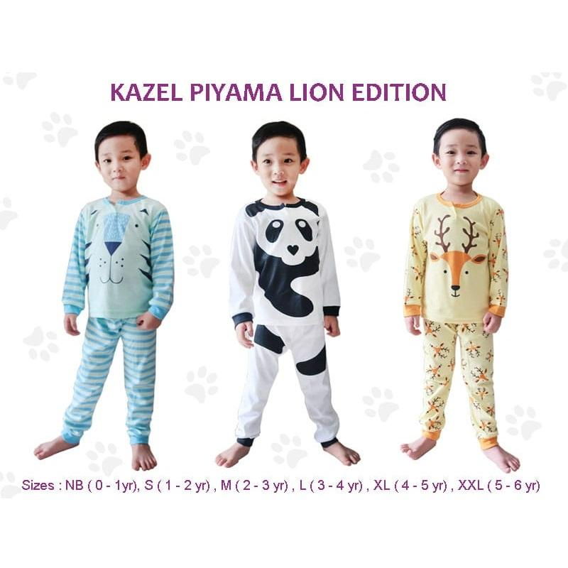 Kazel Piyama Boy Anak Laki-Laki Setelan Oblong Celana Panjang Lion Edition Isi 3 By Babyklik.
