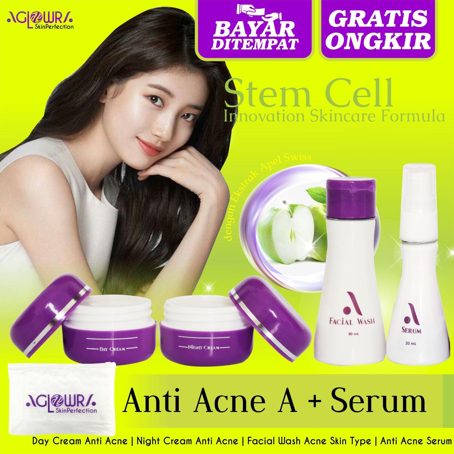 AGLOWRA Paket Anti Acne A with Serum - Obat Jerawat - 2 Cream, 1 Serum dan 1 Facial Wash - Cream Jerawat Yang Mampu Menghilangkan Jerawat dan Bekas Jerawat - Terbukti Nyata Hasilnya - BPOM