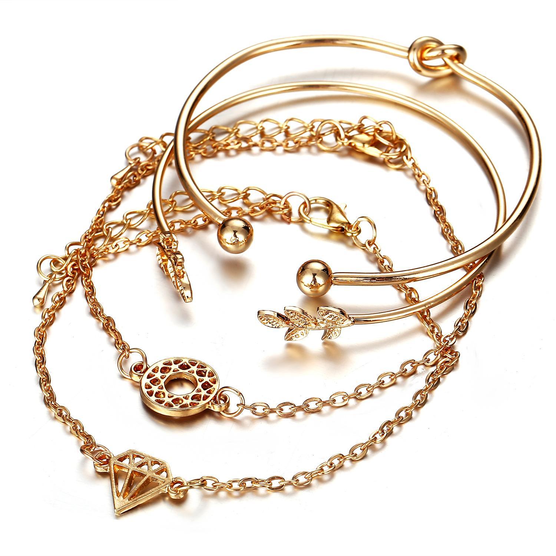 224099c3655 4Pcs / Set Women's Bracelet Simple Vintage Model Elegant Diamond Hollow  Leaf Motif