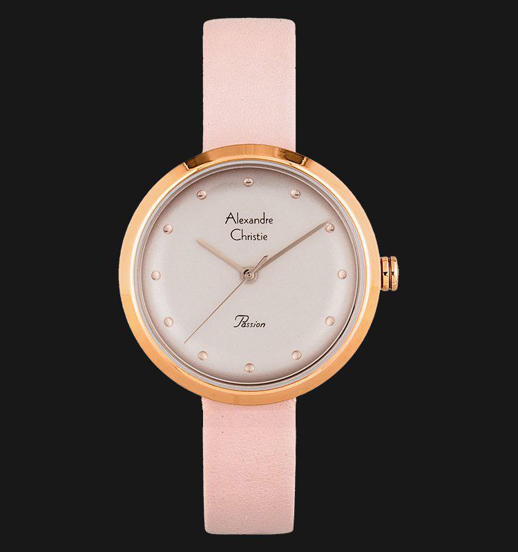 Alexandre Christie AC 2745 LH LRGPN Ladies Pink Dial Pink Leather Strap