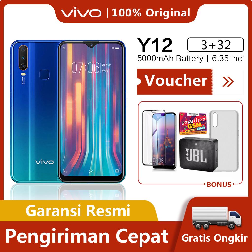 Vivo Y12 hp RAM 3GB ROM 32GB/64GB Gratis Ongkir 5000mAh Battery Garansi Resmi BISA COD,Octa-core 2.0GHz,6.35-inch,AI Super Wide-Angle Camera