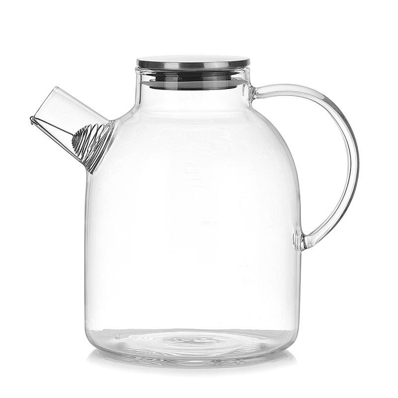 1800ml Water Pitcher, Resistant Transparent Glass Kettle Teapot Coffee Juice Jug With Stainless Strainer Functional By Dragonlee.