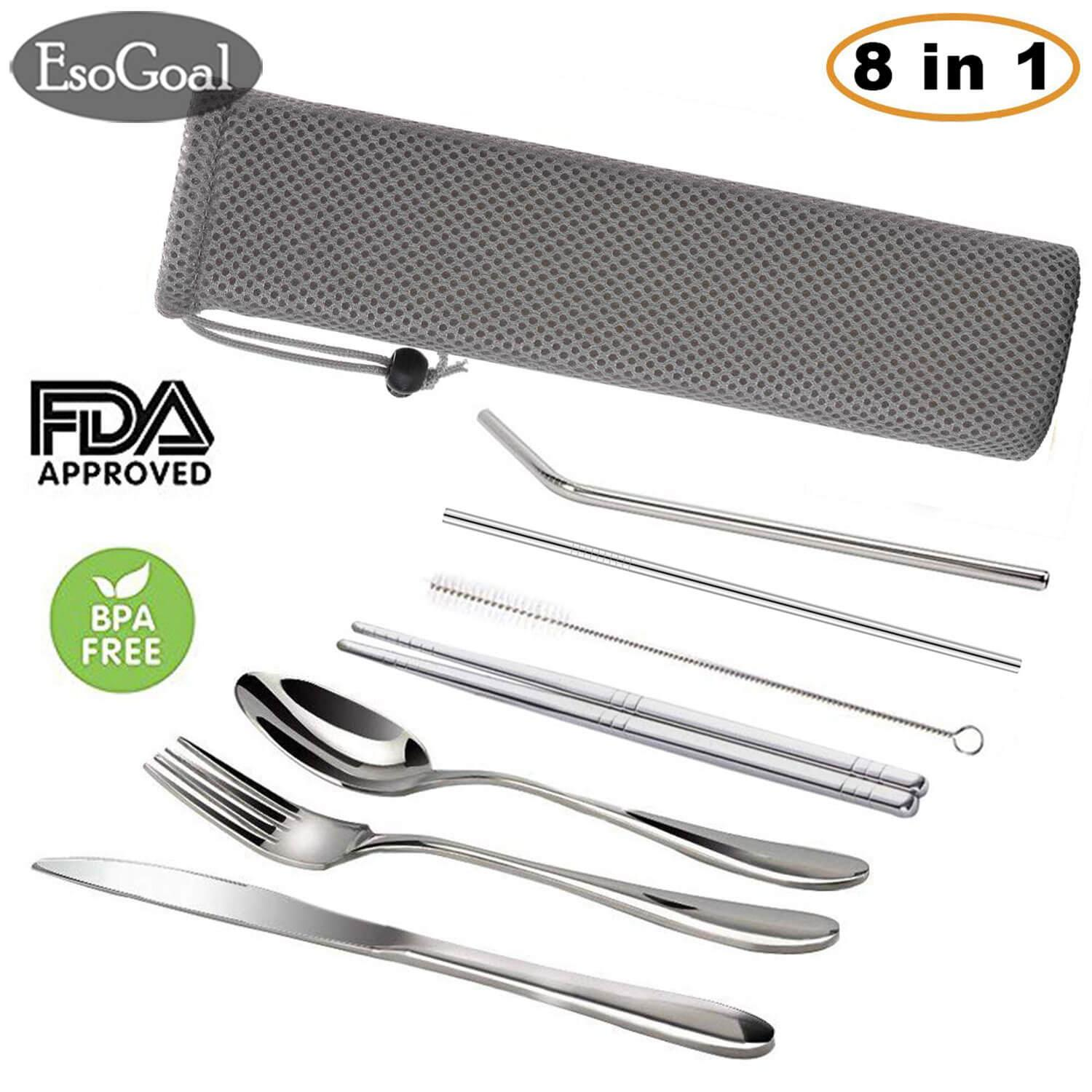 Esogoal Sedotan Stainless 8pcs/set Stainless Steel Straws Reusable Metal Drinking Straws Including Knifee, Fork, Spoon, Chopsticks, Straight Straw, Bent Straw, Cleaning Brush And Carry Bag Portable Silverware Utensil Set By Esogoal.