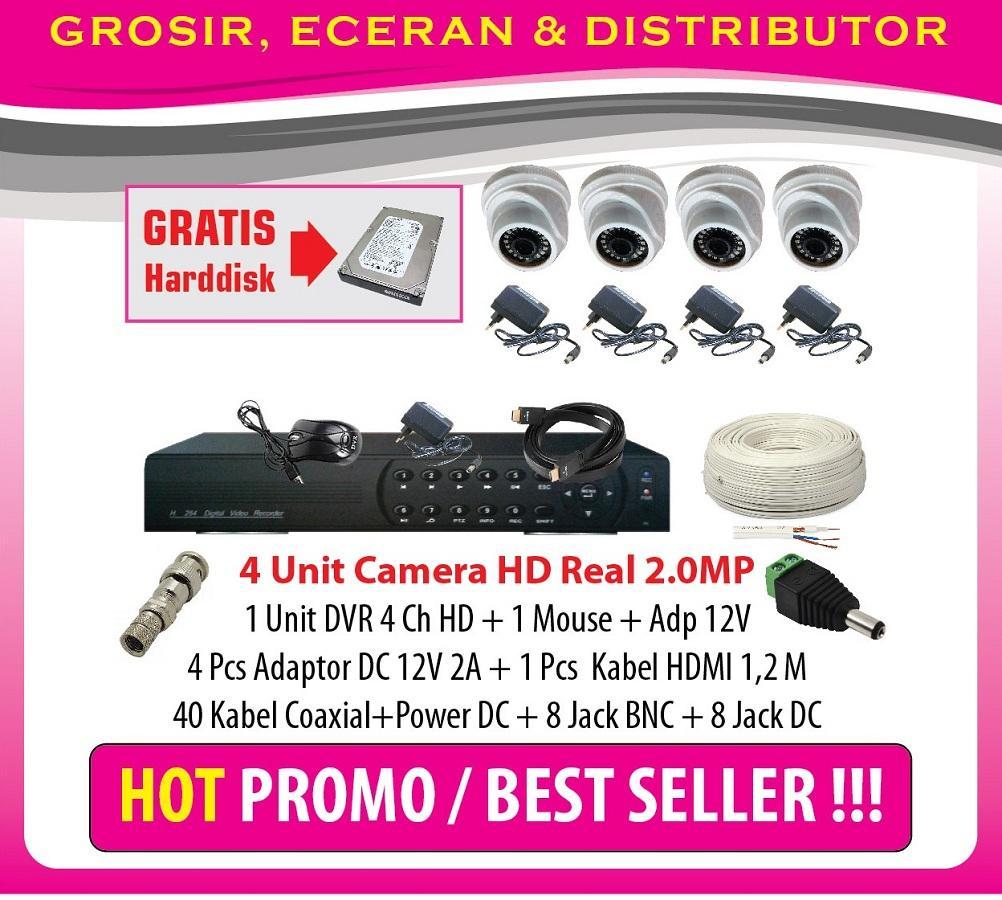 Harga Lagi Promo Paket 4 CCTV Full HD 2MP HD 1 DVR 2MP (Taiwan Technology) (Lengkap Tinggal Pasang)