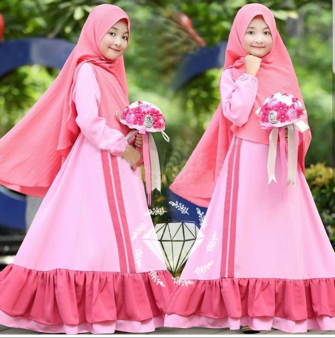 Newone Shop Gamis Rona - Gamis Syari Anak Perempuan - Baju Muslim Anak Perempuan - Alx