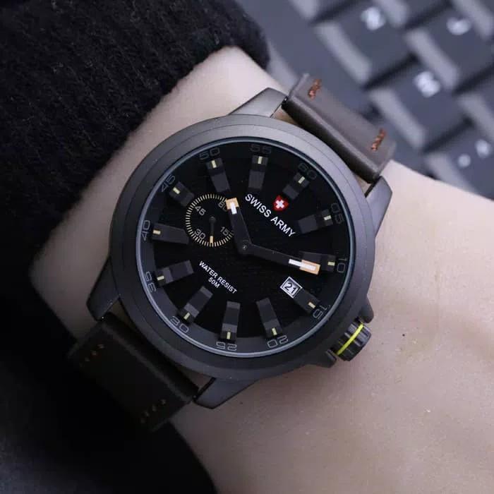 Jam Tangan Pria SWISS ARMY TaLI Kulit (Leather Strap) ,jam tangan model baru,jam tangan keren Limited edition (Water Resist 50m & Tanggal Aktif)