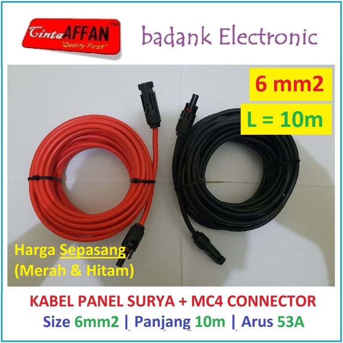 Kabel Solar Panel Surya 6 mm2 L = 10 meter dengan Konektor MC4 - sedia paket lengkap power bank 900 mini 100wp 12v cas hp paket mini charger aku cell terumah raman terbesar transparan portable pembangkit listrik harga promo