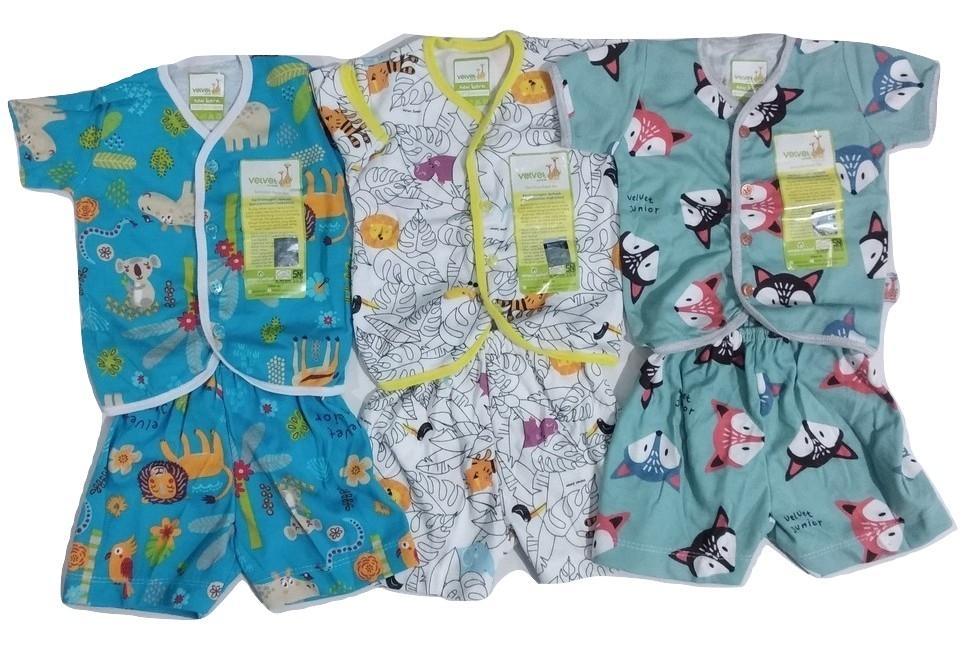 gema 3psg stelan baju pendek bayi velvet newborn isi 3