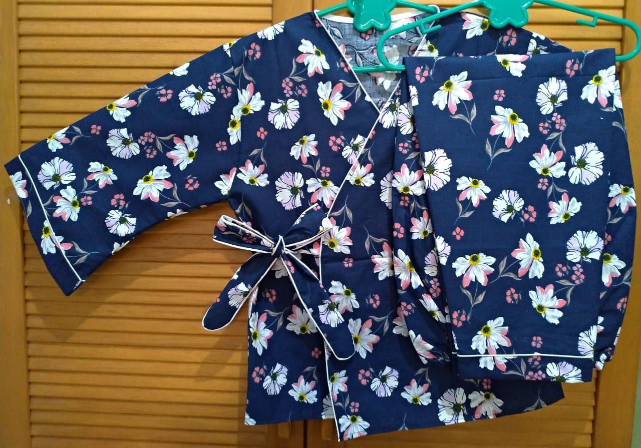Cloth.88 Baju Tidur Piyama Wanita Model Kimono Setelan Celana Panjang 0664