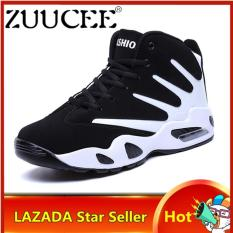 ZUUCEE Men Winter High-top Basketball Shoes Air Causion Sports Sneakers(white black)【Free Shipping】
