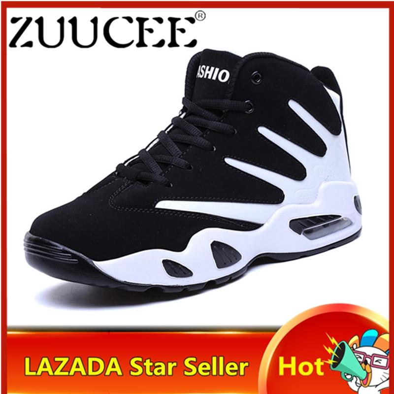 ZUUCEE Men Outdoor High-top Basketball Shoes Air Causion Shoes No-Slip Sports Sneakers