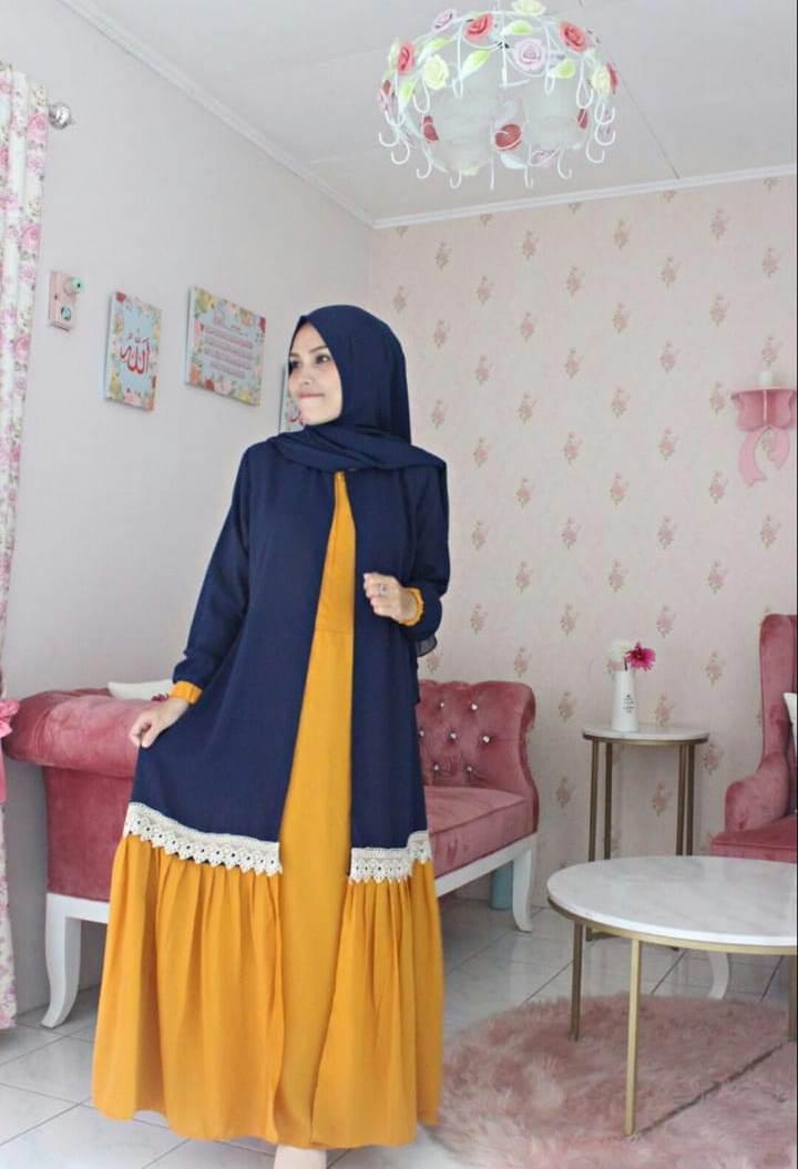 Fashion Wanita Baju Muslim Gamis Sabyan Renda Dongker Navy Kuning