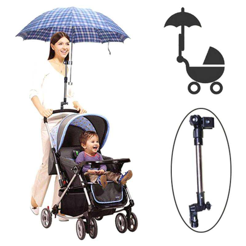 Retractable Holder Payung Multifungsi Sepeda Stroller Kereta Bayi Stroler Sepeda Anak Kursi Roda Jepitan Clamp Untuk Payung Stand Braket Bracket Mount For Umbrella Hard Strong Material Kuat Stainless Steel S7991 - Black By Eigia.