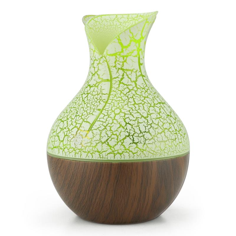 Electric Humidifier Aroma Oil Diffuser Ultrasonic Wood Grain Air Humidifier Usb Mini Mist Maker 7 Color Led Light For Home Office Deep Wood Grain