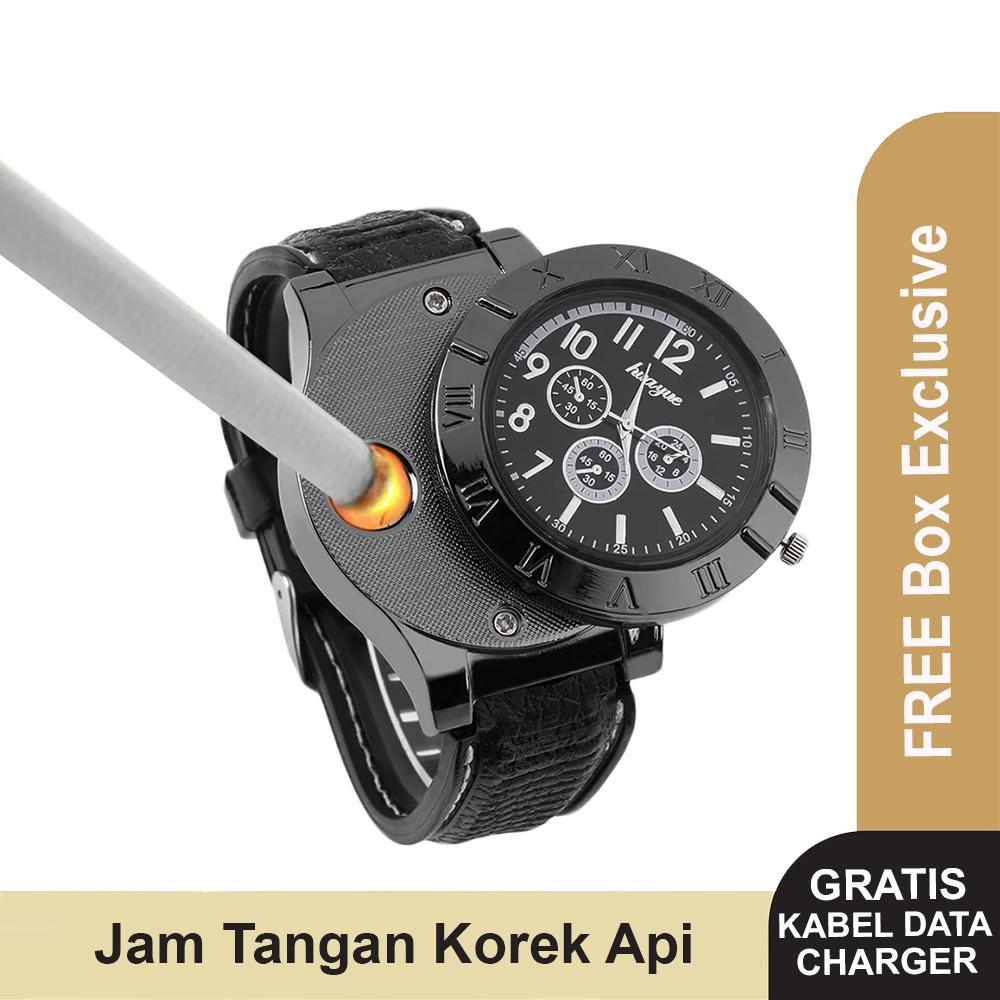 Jam Tangan Pria Korek Elektrik Usb Korek Api Rokok Cigarrete Lighter Watch Jam Tangan Analog By Interesting.