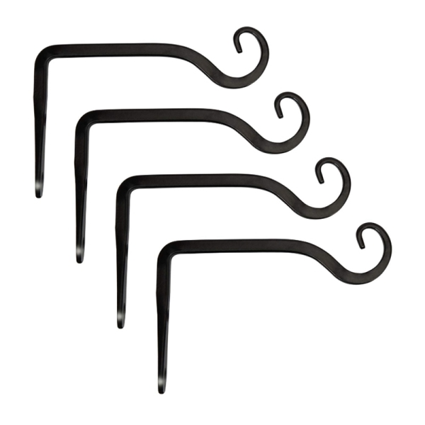 Simple Black Wall Wrought Iron Decorative Bent Flower Basket Hook S-Shaped Hook Belt Installation Accessories
