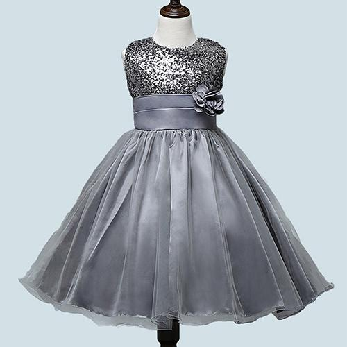 Phoenix B2C Girls Cantik Bunga Payet Princess Dress Layered Ruffle Bola Gaun Gaun 9-10 Tahun (Silver) -Intl