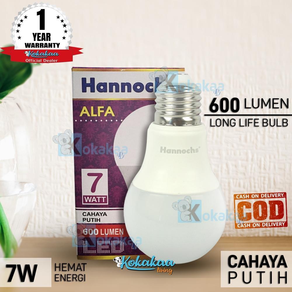 Hannochs Lampu Bohlam LED ALFA 7 Watt SNI Resmi Hemat Energi Cahaya Lampu 600 Lumen GARANSI Resmi 1 (Umur 10.000 Jam) - Putih