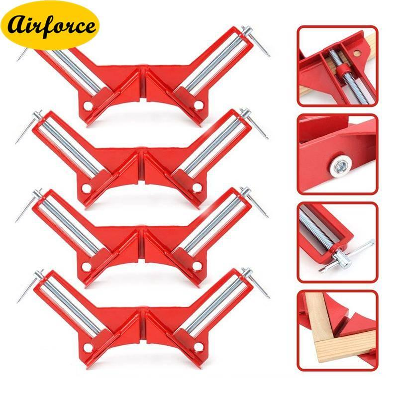 Airforce 4pcs Zinc Alloy Right Angle Clamp 90 Degree Clamp Miter Picture Frame Clamp Woodworking Kit Framing Vise Holder
