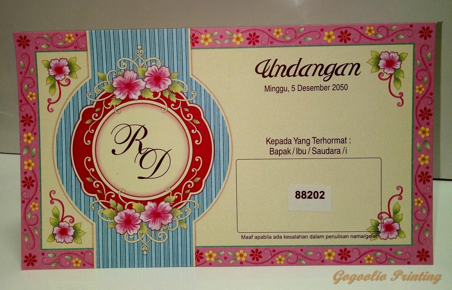 Cetak Undangan Pernikahan Murah 100lembar Sudah Termasuk Cetak Gratis Denah Lokasi Plastik Opp Dan Label Laz88202 By Gogoolio.