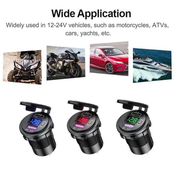 Mday Sạc Xe Hơi SUV 3.0 USB Sạc Nhanh 12V 24V Chất Lượng Cao Ổ Cắm PD Loại C 18W Chống Nước Sạc Nhanh Với Công Tắc Nguồn Bật Tắt Phụ Kiện Xe Hơi, Bán Chạy