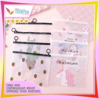 Pouch Kosmetik Transparan Motif Kaktus Tas Kosmetik Karakter Unicorn ZipLock Plastik Pink Panther thumbnail