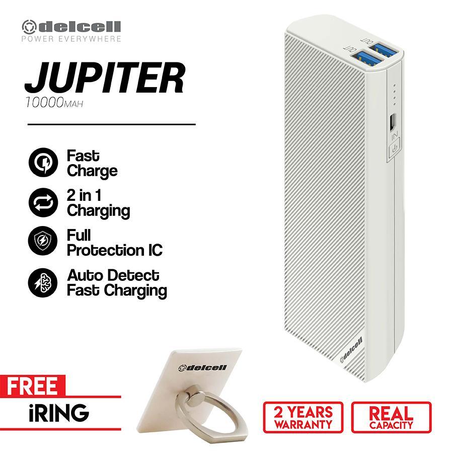 Delcell 10000mAh Powerbank JUPITER Real Capacity Garansi Resmi 1 Tahun Free iRing Stand Holder