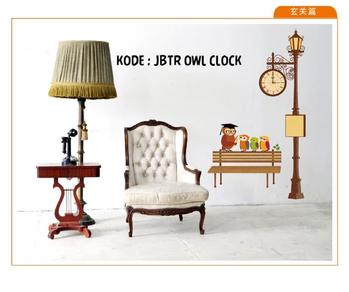 TERMURAH !! Sticker Dinding Wallsticker uk. 90x60 JBTR OWL CLOCK