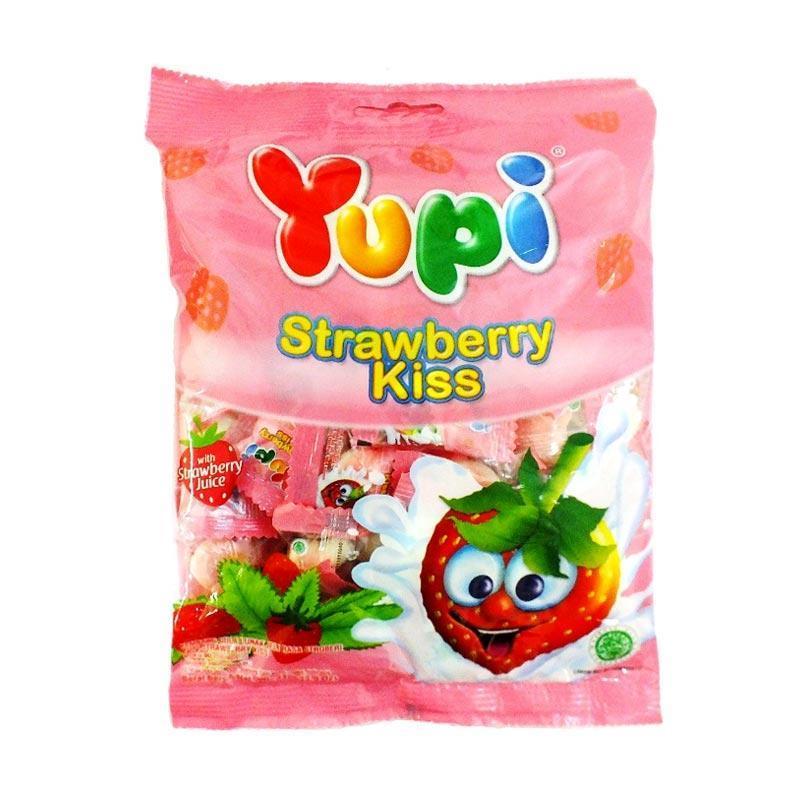 Yupi Strawberry Kiss Jelly Permen [100 g]