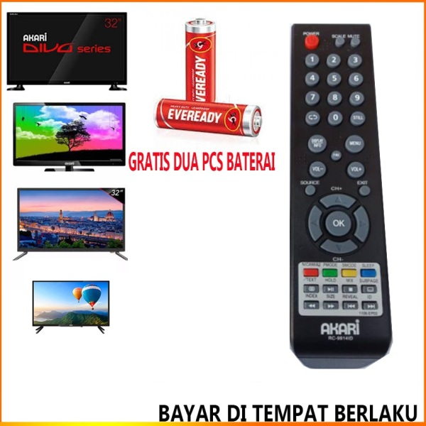Remot Akari Remot TV LED/LCD Akari RC 9914 ID Free Baterai And Packing