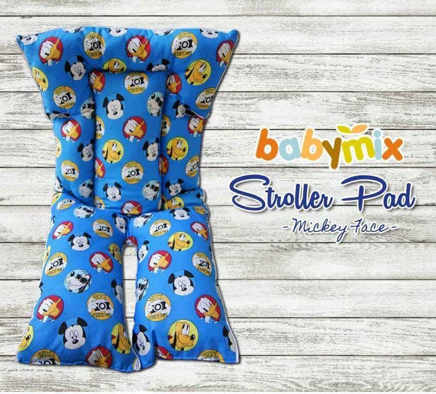Babymix Stroller Pad Motif Mickey Face / Alas Duduk Stroller Bayi / Aksesoris Stroller