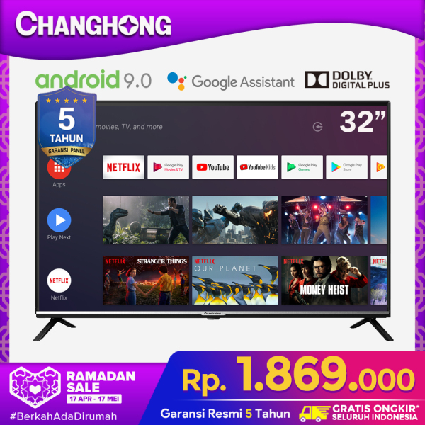 CHANGHONG 32 Inch Netflix Google Certified Android 9.0 (Model : L32H4)