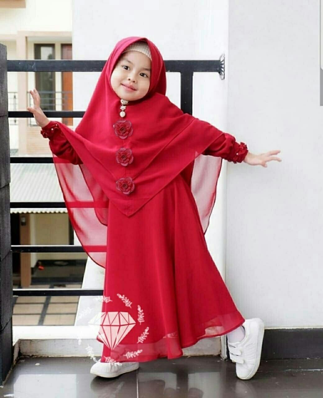 Honeyclothing Gamis Anak Emala / Dress Muslim Anak / Dress Anak Perempuan / Baju Muslim Anak By Honey Clothing.