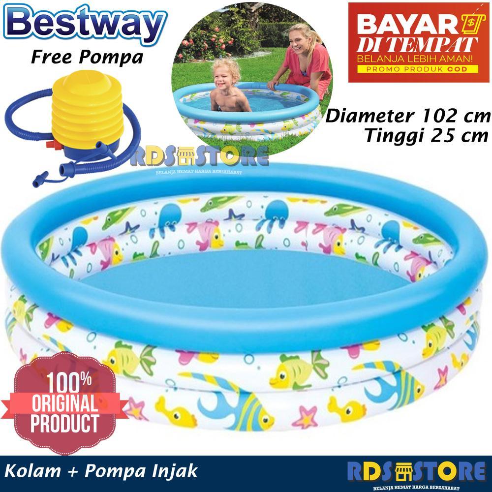 Bestway Kolam Renang Karet Anak Mandi Bola Ocean Pool Pompa Injak 102 X 25 Cm