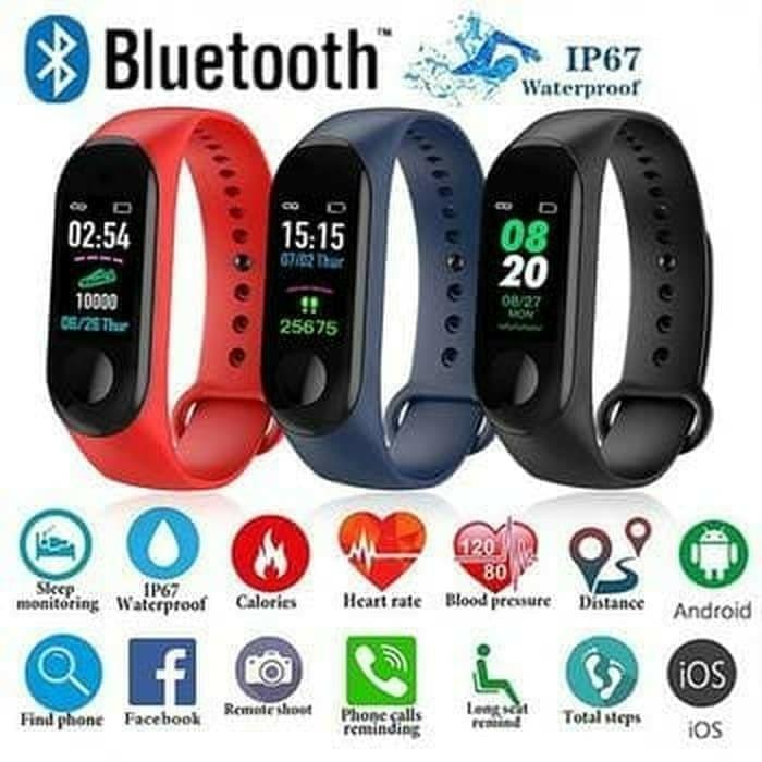 jam tangan pintar smartwatch m3 plus smart watch ori bukan xiaomi mi band 3