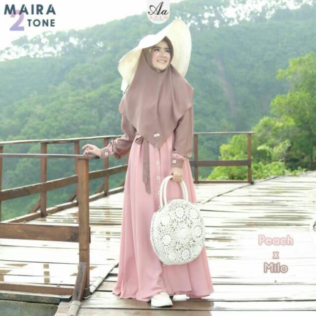 Maira Two Tone Aden Hijab Gamis A D E N Hijab Lazada Indonesia