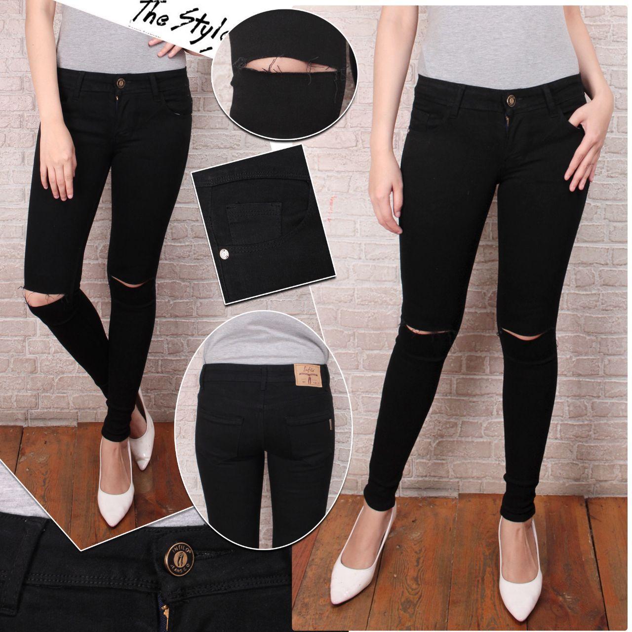 Safa Robek-24574 Jeans Robek Ripped Celana Jeans Wanita Sobek lutut Sobek Lapis Sobek Puring Skinny Street Slim Fit Trendy