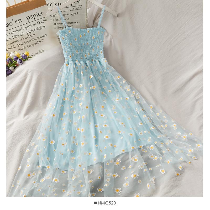Giống Nàng Tiên Hoa Cúc Anh Voan Lưới Mềm Hai Dây Đầm Nữ 2020 Mẫu Mới Kiểu Gấp Bó Eo Tôn Dáng Kiểu Pháp Phong Cách Retro Váy Dài Mùa Hè