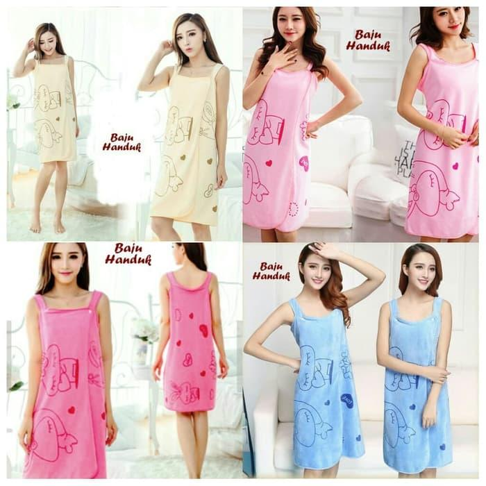Minicollection - 20 Handuk Wanita / Wearable Bath Towel / Handuk Mandi Multifungsi / Multi Fungsi Polos Karakter Love Dan Kelinci / Handuk Praktis By Minicollection.