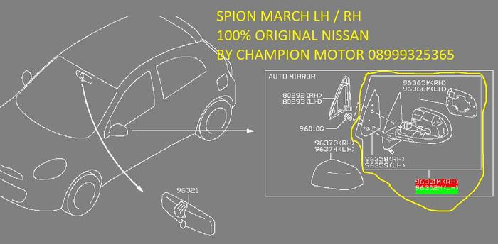 MARCH Spion Assy Tanpa Cover 100⎕riginal Nissan 96301/2-1HH4B