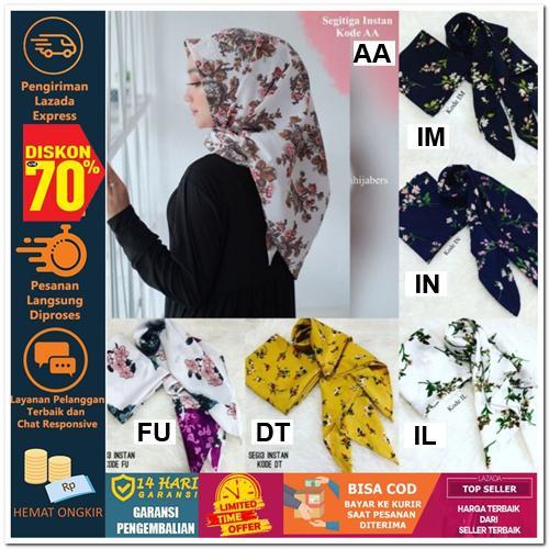 Nusantara Heritage SEGITIGA INSTAN MOTIF MONALISA Hijab Jilbab Segi Empat Square Pashmina Kerudung Khimar Pesta Kondangan Nikahan Simple Pet Instan Instant Bergo Kekinian Trendy