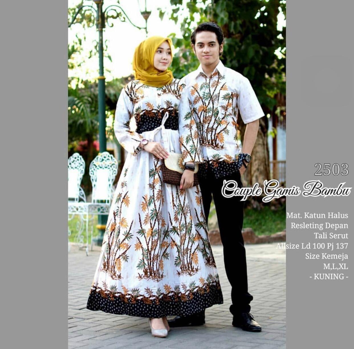 Likin TERMAHAL Baju batik couple sarimbit sepasang hem dan gamis batik murah terbaru Couple Gamis Bambu Kode 2503