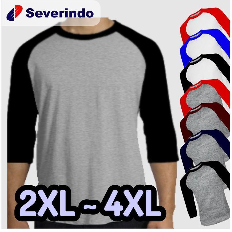 Kaos Polos Raglan Jumbo Big Size XXL (2XL) XXXL (3XL) XXXXL (4XL)XXL,Abu navy () (XXL,Abu navy)