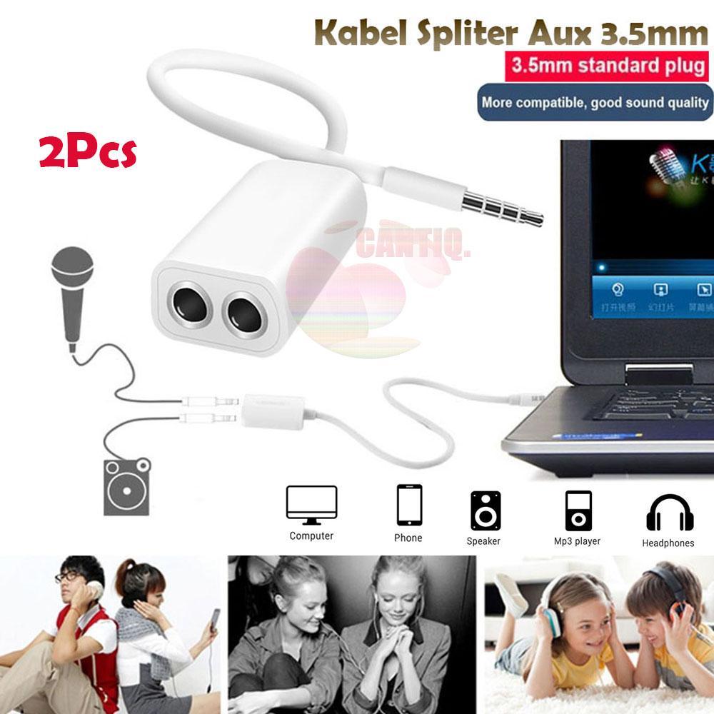 Rp 14.900 2 PCS - Icantiq Kabel Spliter Aux 3.5mm ke Audio Headset & Mic Splitter Male to 2 Female Microphone Audio For Earphone Laptop ...