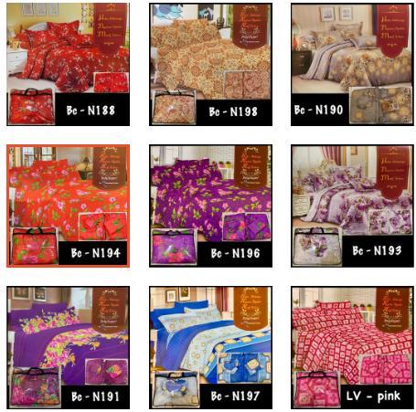 HOMER OFFICIAL - BED COVER SET + SPREI UKURAN KING SIZE 180X200 MOTIF PROMO NATASHA - LV-Pink