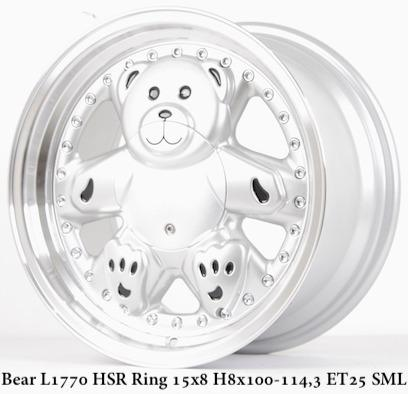 Velg Mobil Bear HSR Ring 15 Silver Lips Brio Agya Ayla Sigra Mazda2